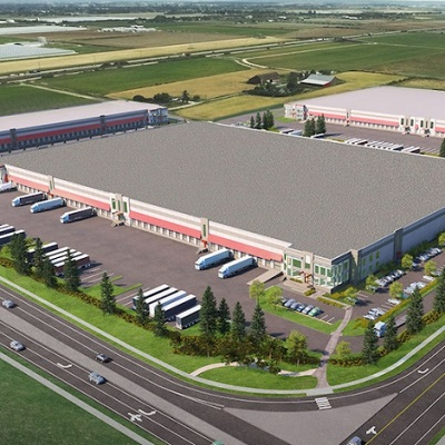 Rendering of the new Delta iPort distribution centre under development in British Columbia – one of the two large industrial facilities is fully leased, the other half leased. (Image courtesy GWL Realty Advisors)