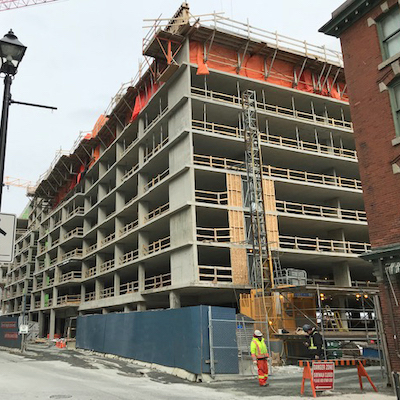 IMAGE: Queen's Marque, being built by Armour Group, in downtown Haifax. (Photo courtesy Alexandra Baird Allen)