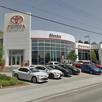 IMAGE: Mendes Toyota in Ottawa is one of 11 dealership properties purchased from Mierins Group by Automotive Properties REIT. (Google Street View image)