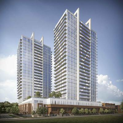 IMAGE: Boardwalk REIT and Redwood Properties will build this two-tower apartment project in Brampton, Ont. (Rendering courtesy Boardwalk)