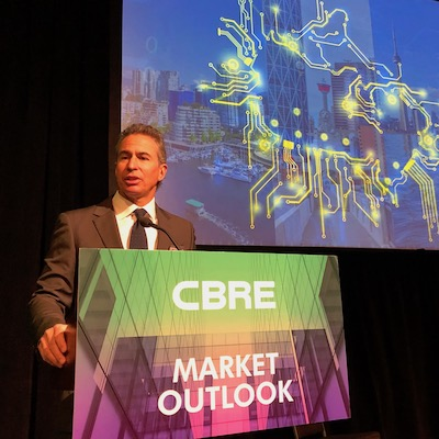 Paul Morassutti, the vice chairman of valuation and advisory services at CBRE, said during the Toronto RealCapitalConference that tech and innovation could help shield Canada from the worst effects of a looming recession. (Image courtesy CBRE)