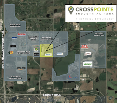 IMAGE: Graphic overview of the Crosspointe Industrial Park in Balzac, just outside Calgary. (Courtesy JLL / Hopewell)