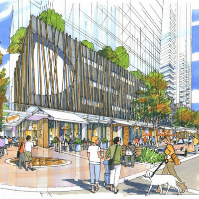 Image: An artist's rendering of the Bernard Block in downtown Kelowna. An updated proposal for the site includes an officer tower to accompany two condo buildings. (Courtesy Mission Group)