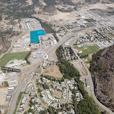 IMAGE: Denciti Developments will build the West Kelowna Industrial Park on this (shaded in blue) property. (Image courtesy Denciti)