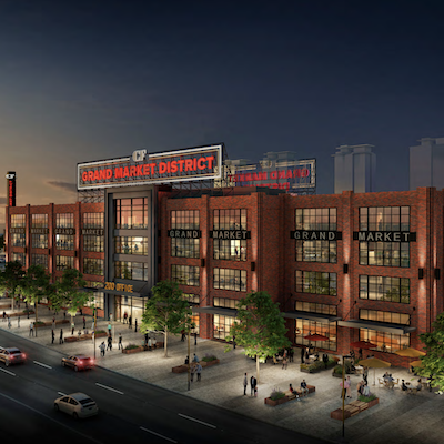IMAGE: Artist's conception of the Grand Market District at Kitchener's Fairview Park shopping centre site. (Courtesy Colliers International)