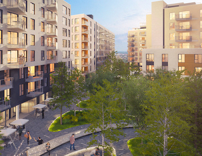 IMAGE: The Arbora condo and apartments development in Montreal. (Image courtesy Sotramont)
