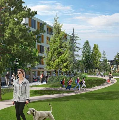 IMAGE: The North Shore Innovation District, a master-planned development proposed in North Vancouver by Darwin Developments. (Rendering courtesy Darwin)