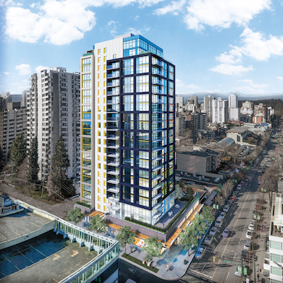 IMAGE: GWLRA has broken ground on a new, 21-storey rental tower along Vancouver's Robson Street, a district struggling with low vacancy for rental units. (Rendering courtesy GWLRA)