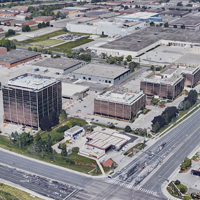 IMAGE: Slate sold a 25 per cent interest in six Toronto-area properties to Wafra. Included is this assemblage at the Woodbine and Steeles Corporate Centre in Markham. (Google Street View image)