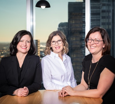 IMAGE: From left Linda Rouleau of Fonds de placement immobilier Cominar; Sonia Gagnon of Agence SGM; Maryse Couture of Toiture Couture & Associés Inc. (Image courtesy Crew M)