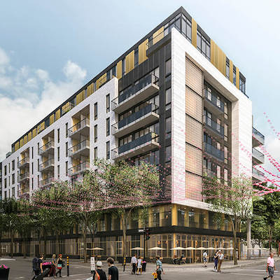 IMAGE: Le Bourbon in Montreal will include a series of second-floor offices to house community groups. (Image courtesy Investissements MSC Canada)