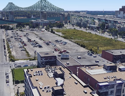 IMAGE: Montreal developer Prével plans a major mixed-use development on this vacant downtown-area property. (Google Street View image)