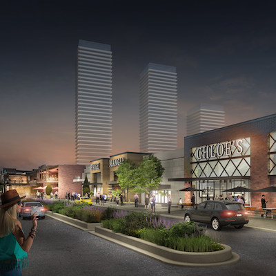 An artist's rendering of what the CF Fairview Mall could look like after an $80-million renovation, and the potential addition of residential, office and hotel towers. (Courtesy Cadillac Fairview)