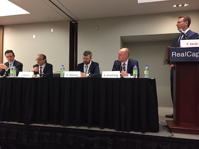 IMAGE: Real Capital panelists discuss the CRE investment prospects for the remainder of 2019, and beyond. From left Greg Sweeney of Manulife, Jordan Robins of First Capital Realty, Duncan Osborne of Cadillac Fairview, Robert Armstrong of Slate Asset Management and moderator Peter Senst of CBRE. (Steve McLean RENX)