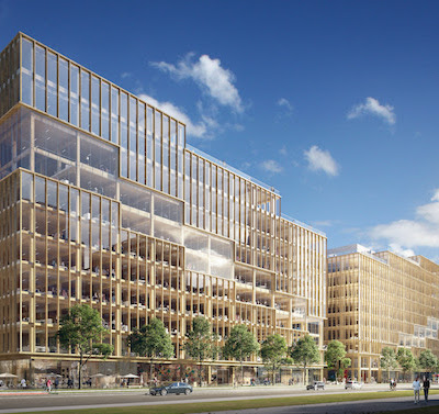 IMAGE: The T3 Bayside office tower being built in Toronto by Hines will be North America's tallest mass timber office building. (Courtesy Hines)