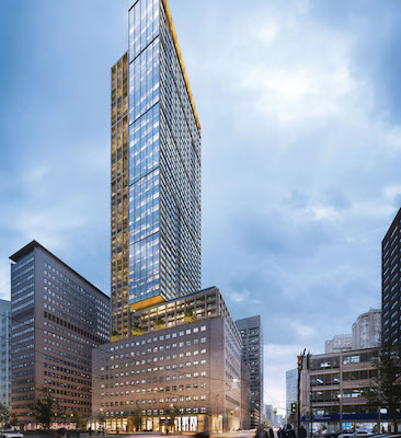 IMAGE: An artist's conception of The United Building, a 55-storey mixed-use tower planned by Davpart at the intersection of University and Dundas streets in Toronto. (Courtesy Davpart)