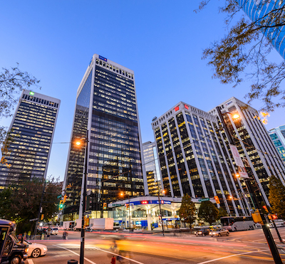 IMAGE: WeWork is a major office tenant in Vancouver, including sites at the four-tower Bentall Centre complex.