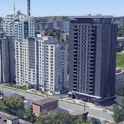 IMAGE: The King St. Towers in Waterloo, Ont., have been acquired by Alignvest Student Housing REIT. (Google Street View image)