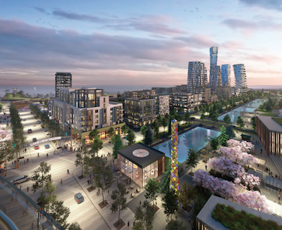 IMAGE: An artist's rendering of the concept for Mississauga's Lakeview Village. (Courtesy LVPC)