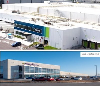 IMAGE: Granite REIT has purchased these two newly constructed warehouses at 2095 (top) and 2020 (bottom) Logistics Drive in Mississauga. (Courtesy Granite)