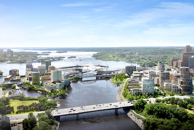 IMAGE: An artist's conception of Zibi, which straddles the Ottawa River in both Ottawa and Gatineau. (Courtesy Zibi)