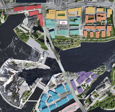 IMAGE: An overview of the Zibi development in Ottawa and Gatineau, a $1.5-billion project which will comprise 43 buildings when complete. (Courtesy Zibi)