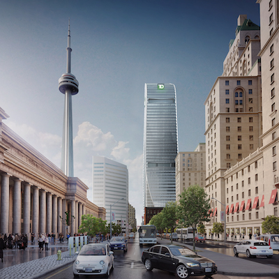IMAGE: The 160 Front Street West office tower being constructed in Toronto by Cadillac Fairview. TD Bank, whose branding is shown at the top of this rendering, will be the anchor tenant and is buying an interest in the project. (Courtesy Cadillac Fairview)