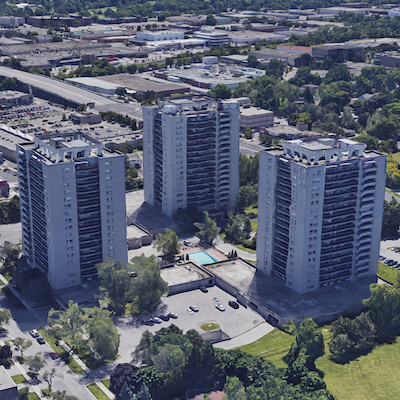 IMAGE: The LYM apartments at Leslie and York Mills roads in Toronto. (Google Street View)