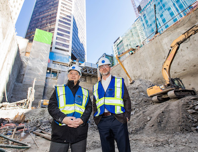 IMAGE: Geoff Heu (left) and Rob Kavanagh of GWL Realty Advisors at the Vancouver Centre II development site. (Courtesy GWLRA)