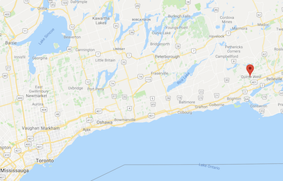 IMAGE: The red pin marks the location of the tiny, former company town of Batawa, Ont. (Google Maps)