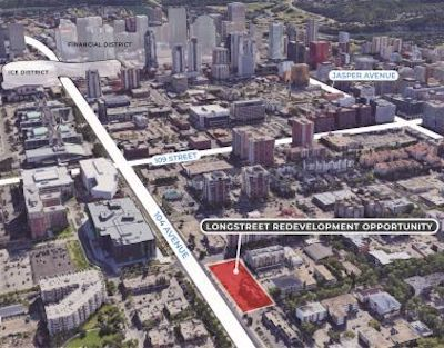 IMAGE: This graphic shows the location of the Longstreet Redevelopment Opportunity in Edmonton, which would be a partnership with First Capital Realty. (Courtesy IPA)