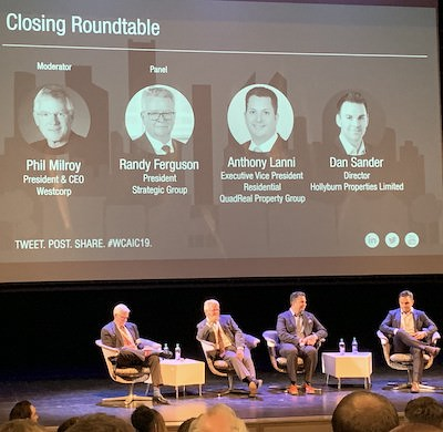 IMAGE: WCAIC apartments conference closing panelists, from left, moderator Phil Milroy of Westcorp, Randy Ferguson of Strategic Group, Anthony Lanni of Quadreal Property Group, and Dan Sander of Hollyburn Properties. (Ann White RENX)