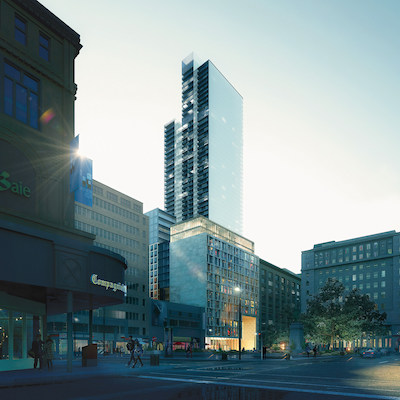 IMAGE: Brivia Group's 1 Square Phillips will be Montreal's tallest residential tower at 61 storeys. (Courtesy Brivia)