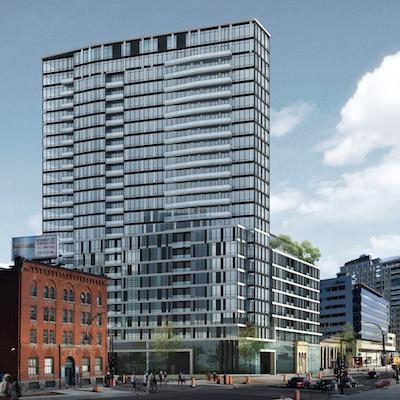 IMAGE: Rendering of the Le Duke redevelopment in Montreal. (Courtesy Crombie)