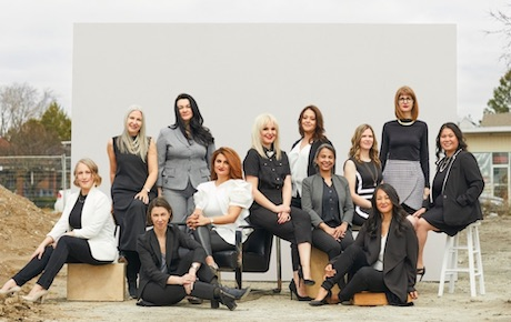 IMAGE: From left to right: Jane Almey (Bluescape Construction); Heather Rolleston (Quadrangle Architects); Nataliya Tkach (EXP); Emily Reisman (Urban Strategies); Sherry Larjani (Spotlight Development); Taya Cook (Urban Capital); Stacy Meek (EXP); Fatima Shakil (Adjeleian Allen Rubeli); Tara Chisholm (WSP Group); Fung Lee (PMA Landscape Architects); Lisa Spensieri (Quadrangle Architects); and, ManLing Lau (MarketVision Research). (Riley Stewart Photography)