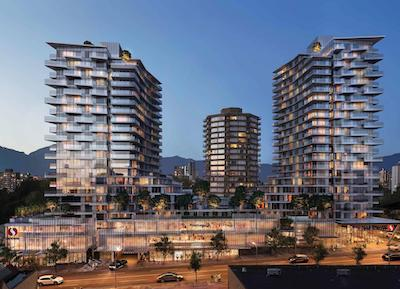 IMAGE: Two residential towers are being developed, in partnership with WestBank, along Davie Street in Vancouver. (Courtesy Crombie)