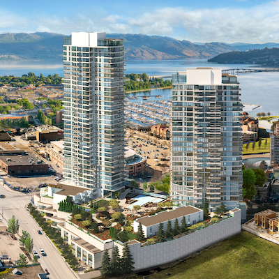 IMAGE: One Water Street condos by North American Development Group and Kerkhoff Property Group is one of several major developments transforming Kelowna, B.C. (Courtesy NADG)