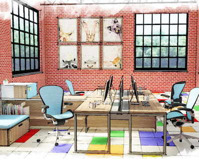 IMAGE: Artist's rendering of a Kidco Work co-working space. The child care firm is expanding to include co-working spaces in some locations as part of a pilot project. (Courtesy Kidco)