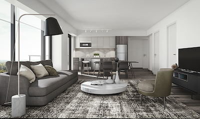 IMAGE: Rendering of the interior of an apartment at Frontier. (Courtesy RioCan / Killam)