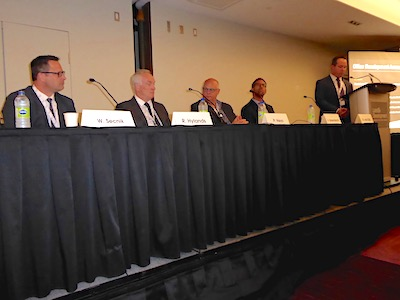 IMAGE: Panelists (from left) William Secnik of Fiera Properties, Richard Hylands of Kevric Real Estate, Peter Heys of B+H Architects, Arie Barendrecht of WiredScore, and moderator Roelof van Dijk of CoStar discuss the office sector during the 2019 Land & Development conference in Toronto. (Steve McLean RENX)