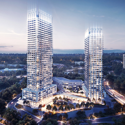 IMAGE: Artist's rendering of potential future development on the site of the Toronto Don Valley Hotel and Suites, which is for sale by Allied Properties. (Courtesy CBRE)