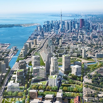 IMAGE: First Gulf's master-planned Toronto East Harbour community, shown in an artist's concept. (Courtesy First Gulf)