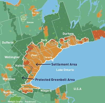 "IMAGE: The protected Greenbelt creates an ""island"" effect around the Greater Toronto Area. (Courtesy Equiton)"