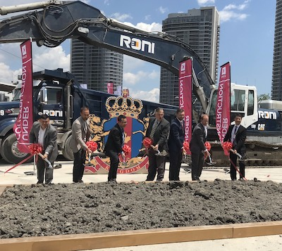 IMAGE: Representatives from the development team officialy break ground at Kingdom Developments' KSquare condos site in Toronto on June 27, 2019. (Kelly Roche RENX)