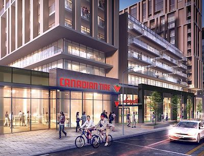 IMAGE: First Capital REalty's Kings Club development in Toronto incorporates needs-based retail into a mixed-use project. (Courtesy First Capital)