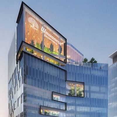 IMAGE: Wawanesa insurance will occupy a fifth office tower to be built at Winnipeg's True North Square mixed-use development. (Courtesy Wawanesa, True North Real Estate Development)