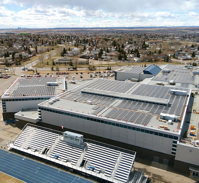 IMAGE: The Genesis Place Recreation Centre in Airdrie, Alta., is now home to Canada's largest municipal rooftop solar energy installation. (Courtesy City of Airdrie)
