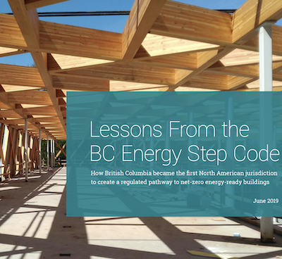 IMGE: Cover of the new report, Lessons From The B.C. Energy Step Code.