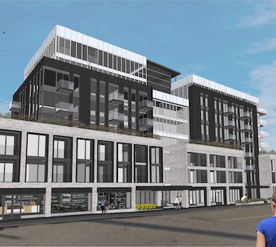 IMAGE: Dexel Developments has received approval for this eight-storey apartment building at 6324 Quinpool Rd., in Halifax, along with townhouses to be built at the back. (Courtesy Dexel)