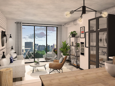 IMAGE: Move-in-ready Node apartments are geared to young professionals. They feature co-working spaces, high-spec kitchens, smart home technology, eco-thermostats, all-inclusive utilities, furnishings, and a resident's app that centralizes building access, courier services, rental payments and maintenance. (Courtesy Node)